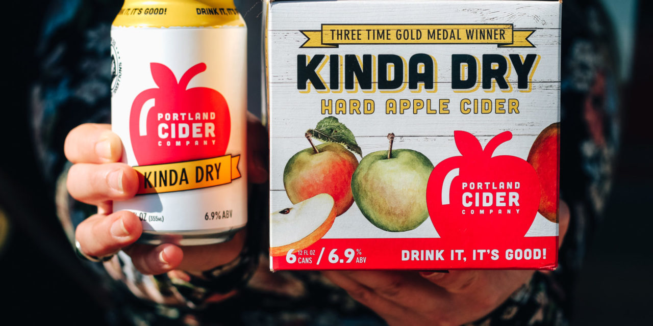 Portland Cider Co.'s best-selling Kinda Dry cider is now available in 12-ounce six-pack cans