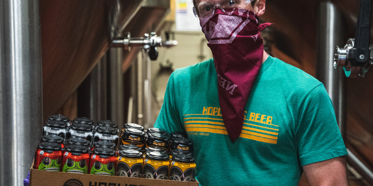 B Corp collaboration between Hopworks and Looptworks turns 300+ cases of beer into more than 400 masks for Central City Concern