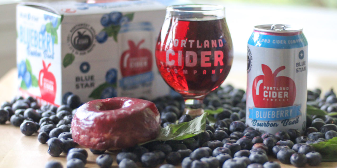 Local small businesses Portland Cider Co. and Blue Star Donuts support one another with Blueberry Bourbon Basil cider partnership
